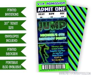 Jump Birthday Ticket Invitations - JUMP VIP Invitation- Neon Invites - Bouncy - Boy Trampoline Party - Bounce House - Sky Party - Green
