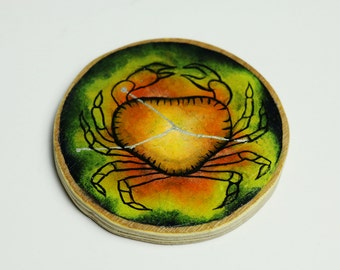 Hand painted Cancer constellation decorative wood slice