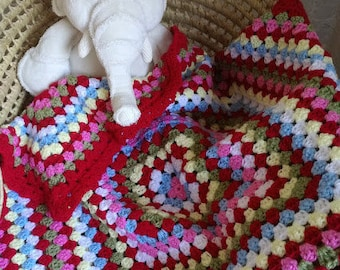 Baby Blanket, Handmade, First Blanket, Travel Blanket, Granny Square Baby Blanket, Cath Kidston colours,  26 x 26 inches