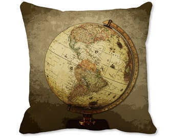 Globe Pillow - World Map Decor - World Pillow - Map Pillow - World Map Decor - Travel Decor - Map Throw Pillow