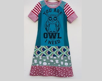 Size 8 girls summerdress, upcycled, owl, girlsclothing, upcycled dress, kids clothing, children's clothing, upcycling, jersey girls dress
