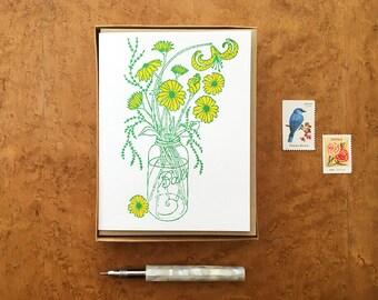 Ball Jar Bouquet, Boxed Set of 8 Letterpress Notecards, Blank Inside