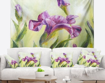 Designart Dancing Irises Floral Wall Tapestry, Wall Art Fit for Wall Hanging, Dorm, Home Decor