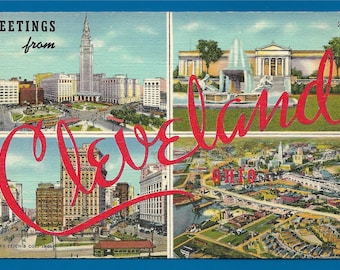 Vintage Linen Postcard - Greetings From Cleveland Ohio  (2586)