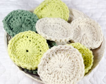 """Cotton Face Scrubbies(12) 3"""" Crochet Mini Wash Cloths/Face Wipe-Makeup Pads-Makup Removers/Face Puffs Sage,Cool Green and Natural Cotton"""