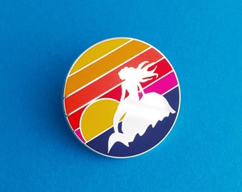 Mermaid Sunset Enamel Pin Badge - Ombre Rainbow Lapel Pin
