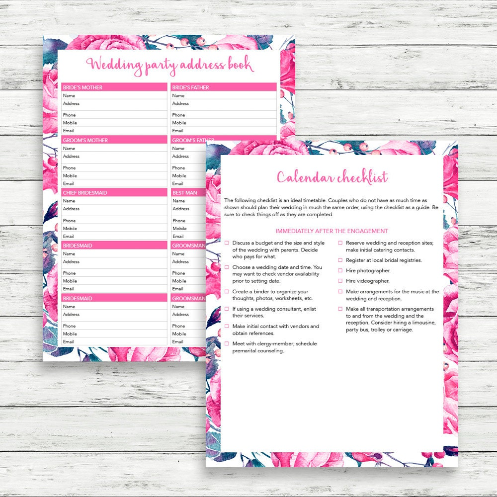 Flower wedding binder, Printable wedding checklist, Wedding ...