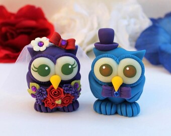 Bride and groom love bird owl cake topper, custom wedding cake topper, cute animal cake topper, owl wedding cake decorations with banner