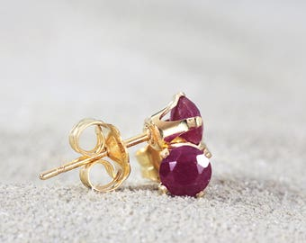 Ruby Stud Earrings - July Birthstone - Ruby Post Earrings - Genuine Ruby Jewelry - Gold Ruby Earrings - Gemstone Studs