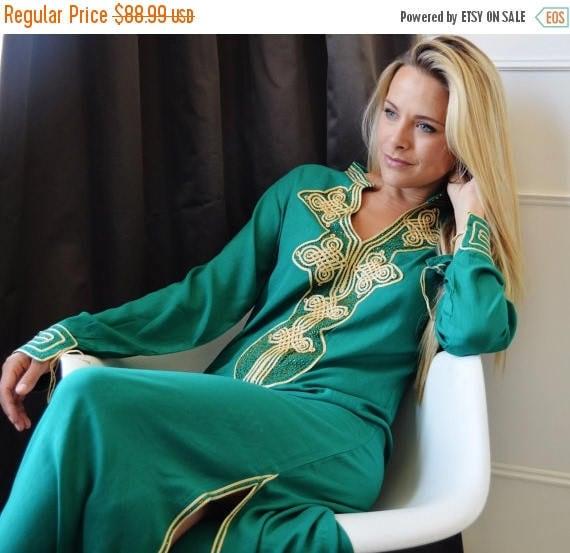 Autumn Dress Emerald Green Moroccan Caftan Kaftan Aisha-loungewear,resortwear, birthday, Honeymoon, Maternity dress, winter dress