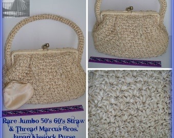 Rare Vintage Marcus Brothers Of Miami Beige Jumbo Straw Thread Crochet Kisslock Purse With Coin Purse Made In Japan