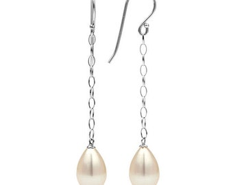 Drop Shape Pearl Dangle Earrings, 14K White Gold Drop Earrings & Single Freshwater White Pearl, Bridesmaid Jewelry, Wedding Jewelry