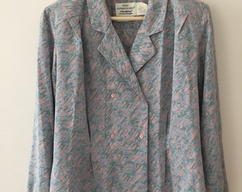 80s Pastel Pattern Vintage Silk Blouse, Blazer,  Sz 10 by Miss Sophisticates by Pendleton  Made in the USA, Pink and baby blue print