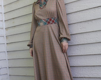 70s Brown Plaid Dress 1970s Vintage Print Long Sleeve Casual S