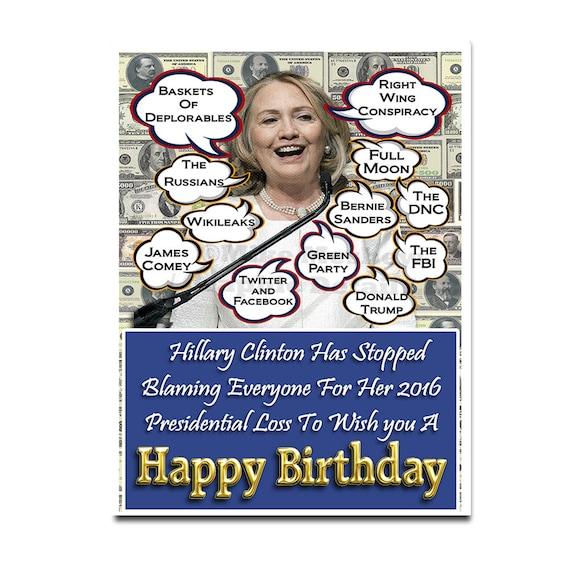 Hillary Clinton Funny Birthday Card Birthday Card Hillary