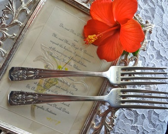 Always and Forever Handstamped Vintage Silverplate Antique Wedding Forks   Antique Harmony House 1937 CLASSIC FILIGREE Pattern