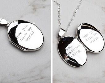 Engraved sterling silver locket,Date locket,Custom quote locket,Long layered necklace,Name locket,Memory locket,Photo locket,girlfriend gift