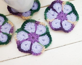 Crochet Coasters, purple crochet coasters, wedding present, housewarming  gift, floral coasters, cute crochet coasters, granny chic