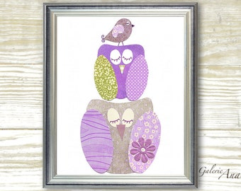 Owl nursery Purple green baby nursery decor- Bird nursery wall art- art for children kids room art - A Quiet Day print