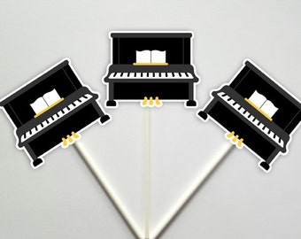 Piano Cupcake Toppers, Music Party Cupcake Toppers, Instrument Party, Instrument Cupcake Toppers