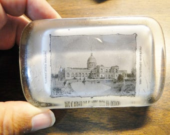"1893 Columbian Exposition World's Fair Glass Paperweight By Libby Glass Co - Illinois State Building - 2 1/2"" X 3 7/8"" - Great Find!"