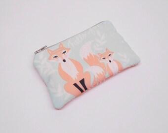 aqua blue fox change purse, light blue fox coin purse, zipper pouch with foxes, woodland animals zipper bag, fox wallet, card holder, purse
