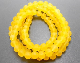 50 Yellow Matte Sea Glass Beads 8mm frosted beach glass round