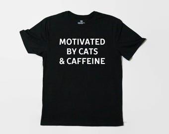 Cat Shirt, Cat T-Shirt, Funny Tee Shirt, Cat Tee, Funny, Graphic Tee, Cat Lover, Cats and Caffeine, Animal Shirt