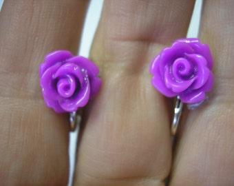 """Play Earring - Clip or Pierced - Rosebud - Purple - 3/8"""""""