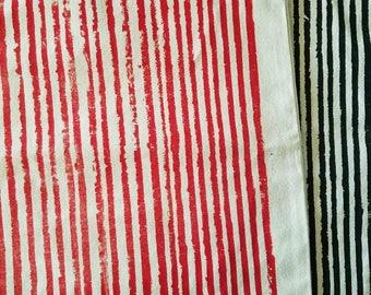 Red Vintage Stripes Canvas Market Bag.