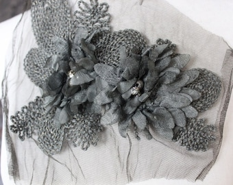 Cute embroidered  and beaded flower applique dark grey color