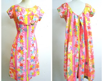 1960s Hawaiian pink yellow blue printed cotton wiggle dress / 60s Liberty House back cascade evening dress - S