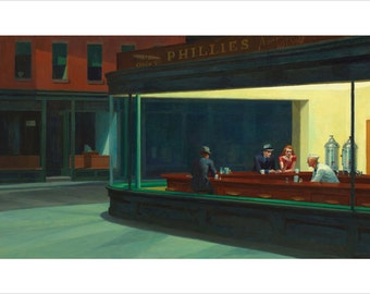 Edward Hopper's Famous & Iconic Painting Nighthawks 24x36 Bar Scene Rare!