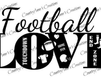 "SVG PNG DXF Eps Ai Wpc Cut file for Silhouette, Cricut, Pazzles, ScanNCut  -""Football Love""  svg"