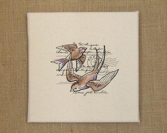 Parisian Swallows, Embrodered Swallows, Embroidered Wall Art, Swallows, Paris, Parisian Wall Art, Parisian Wall Decor, Embroidered Canvas