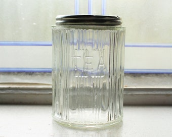 Antique Hoosier Jar Paneled Tea Canister