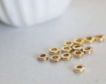 Set of 10 rings Golden brass tubes