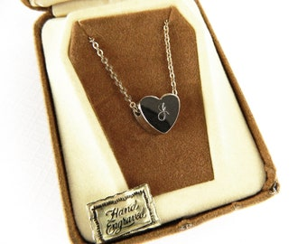 Vintage 12K Gold Plated Initial J Heart Pendant Necklace - Pendant Hand Engraved - Original Gift Presentation Box
