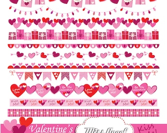 "Valentine's bunting banner, 12 romantic printable borders clip art. 12"" love hearts, arrows clip art. Pink, dark pink, red. Love borders"