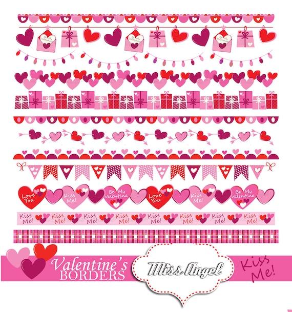 Valentine's bunting banner 12 romantic printable borders
