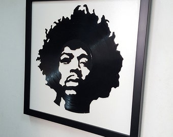 Jimi Hendrix Vinyl Record Wall Art Black Framed -Great Rock'n'Roll Gift