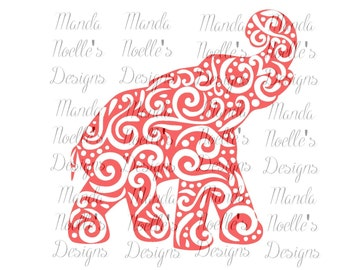 Alabama Swirl Elephant SVG or Silhouette Instant Download