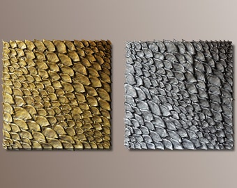 Set of 2 Large Wall Sculptures - Wall Decor - 3D Large Wall Art - Golden and Silver Wall Panels - Textured Wall Art - Wall Installation