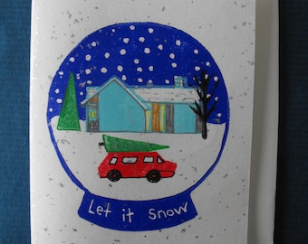 Original linocut block print, Christmas card on vintage silver sparkle Japanese paper, hand carved rubber stamps, Snow Globe, Let it Snow