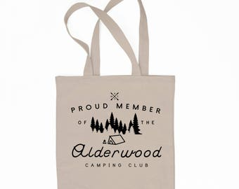 Alderwood Camping Club / 6 oz. Tote Bag / Camping / Grocery Tote / Cyber Monday Sale