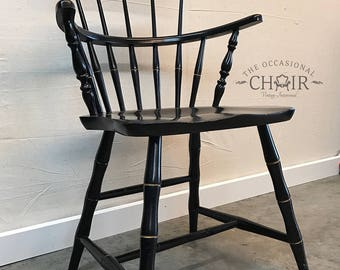 SOLD - Vintage 1950s Nichols and Stone Black Windsor Arm Chair