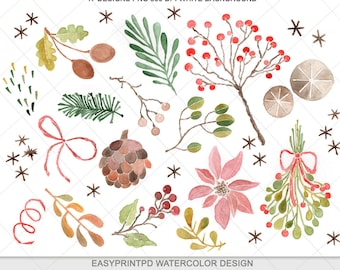 Christmas Winter Watercolor Clipart - Personal and Commercial Use, Digital Watercolor Clip Art, Watercolor Christmas, Holiday Watercolor Art