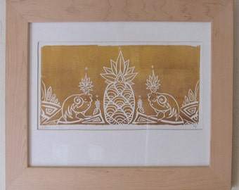 Sirens and Pineapple in Gold on White - Tropical - Framed Print - Poster Print - Shiny Metallic - Decorative Arts - Printmaking - Linocut