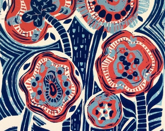 Sunnyside Flower Linocut Print Original