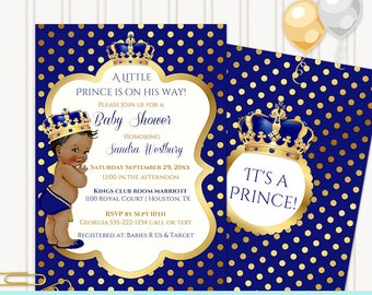 Little Prince Royal Blue and Gold | African American | Editable Invitation Digital Download